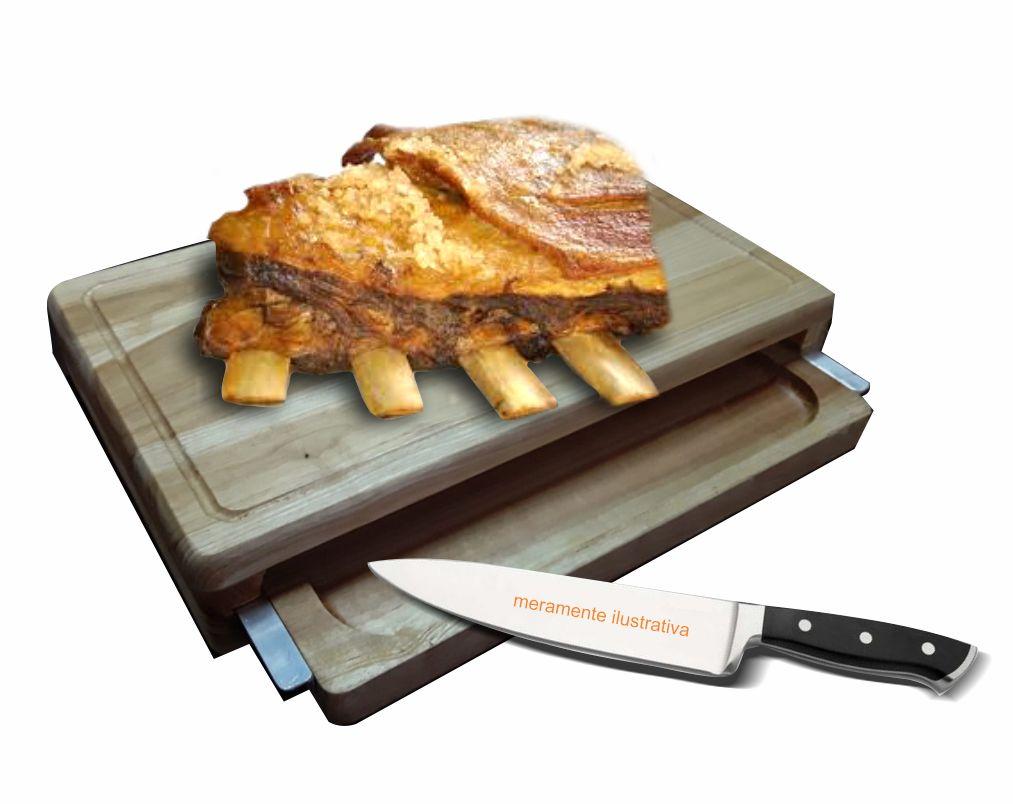 Tábua churrasco com bandeja, madeira natural, revestida em PU atóxico - TCH.2103 39